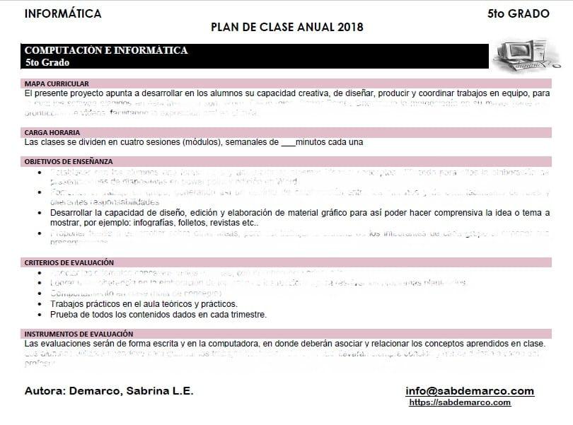 planificacion de informatica 5to