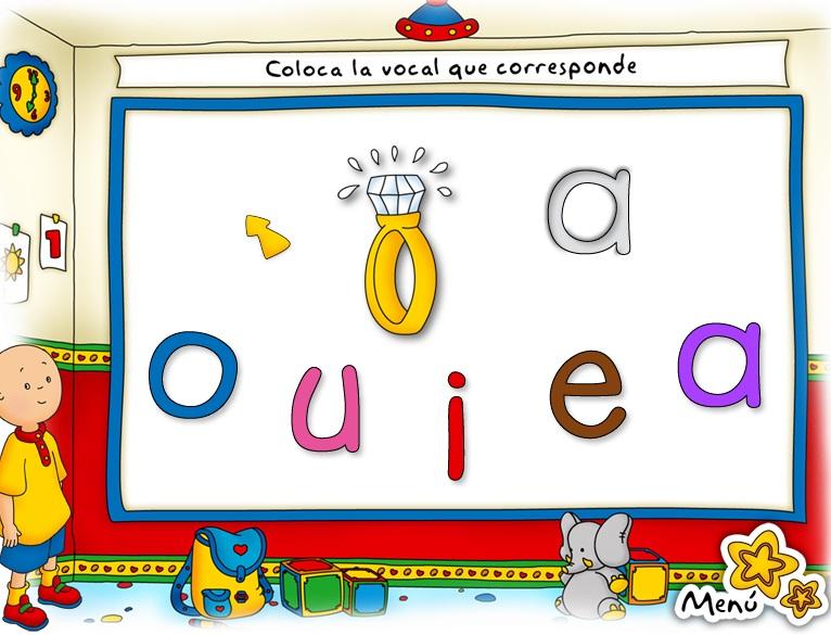 caillou letras colores y numeros